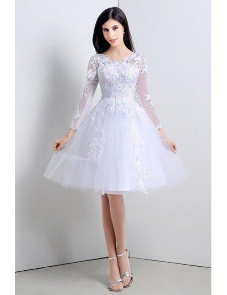 Modest Short Tulle Lace Wedding Dress Long Sleeved For Summer Beach