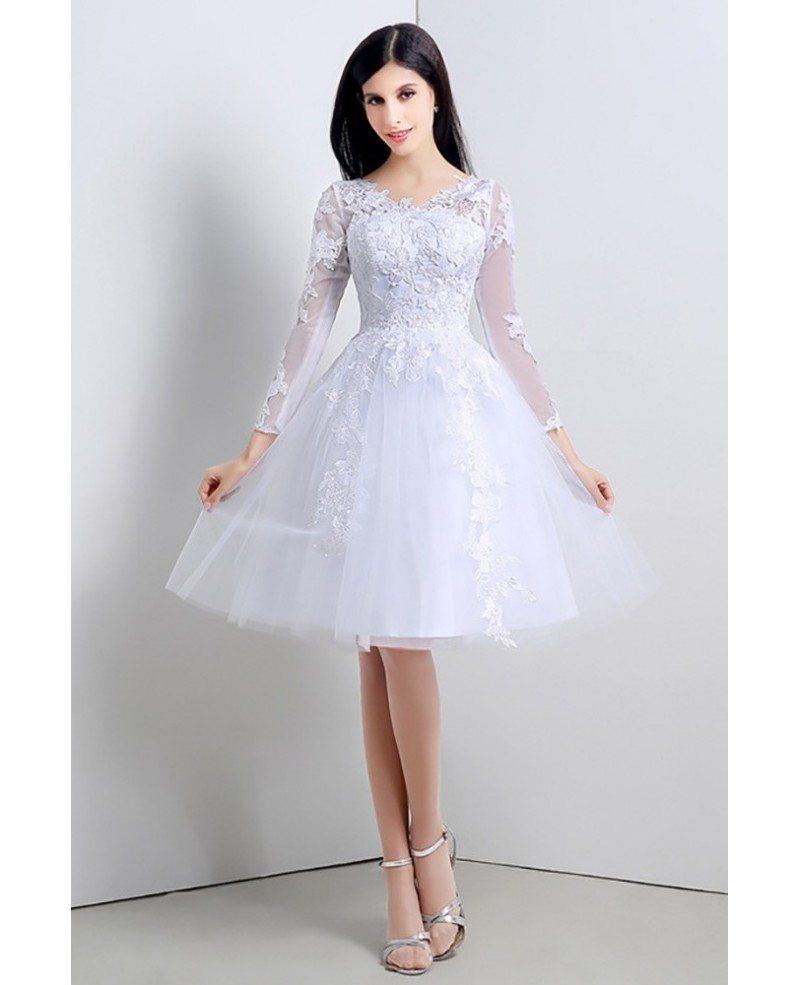 Modest Short Tulle Lace Wedding Dress