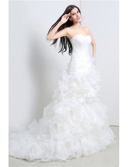 Gorgeous Cascading Ruffle Corset Wedding Dress Strapless Organza