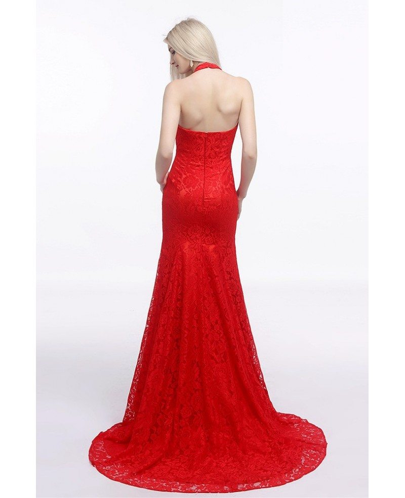 All Lace Wedding Dress: Fit And Flare Halter Red Wedding Dress Backless In All