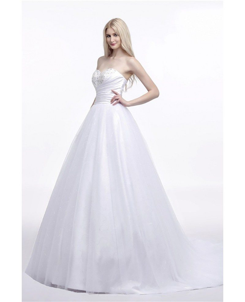 Elegant Corset Strapless Bridal Dress Ball Gown With