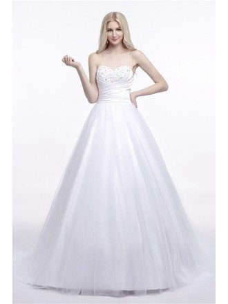 Elegant Corset Strapless Bridal Dress Ball Gown With Beading