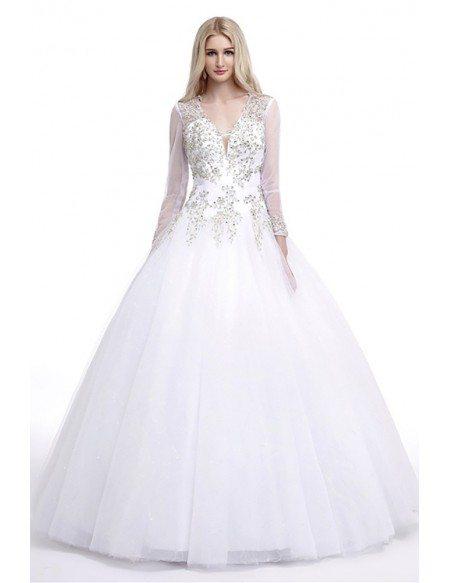 Modest Style Ballroom V Neck Wedding Dress With Sleeves Hole Back