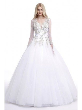 Modest Style Ballroom V Neck Wedding Dress With Sleeves Hole Back