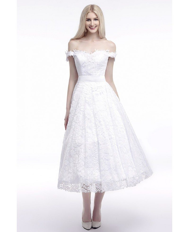 All Lace Wedding Dress: Off The Shoulder Straps Wedding Dress Cheap In All Lace