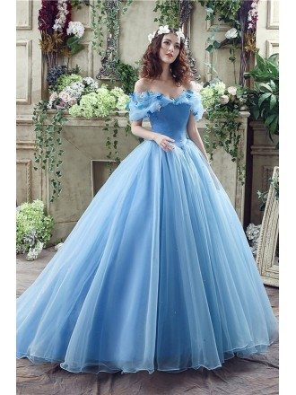 Non Traditional Blue Princess Bridal Gowns With Off Shoulder Straps