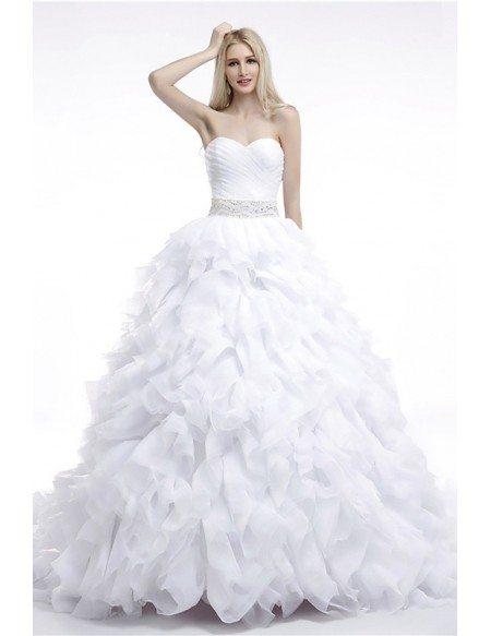 Cheap Ball Gown Wedding Dress Cascading Ruffled For Woman