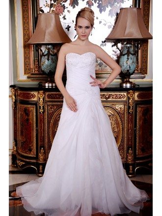 A-Line Sweetheart Court Train Organza Wedding Dress With Beading Pleated