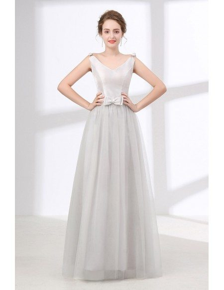 Cheap A Line Long Grey Evening Dress With Sweetheart Neck