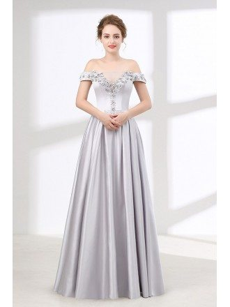 Off The Shoulder Silver Satin Prom Dress With Beading Flowers