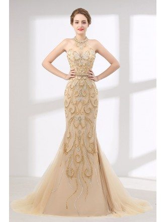 Glittering Champagne Mermaid Prom Dress Haltered For Curvy Girls