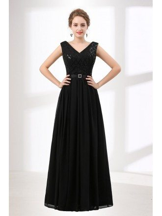 Inexpensive Sequined Black Prom Dress Long V Neck 2018