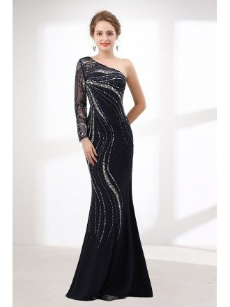 Shiny Sequin Black Fitted Prom Dress Mermaid With One Shoulder Sleeves