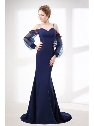 Mermaid Long Navy Blue Evening Dress With Off Shoulder Sleeves