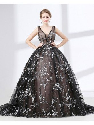 Romantic Lace Ball Gown Prom Dress Black In Country Style