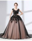 Country Ball Gown Black Quinceanera Dress Long Train With Lace Bodice