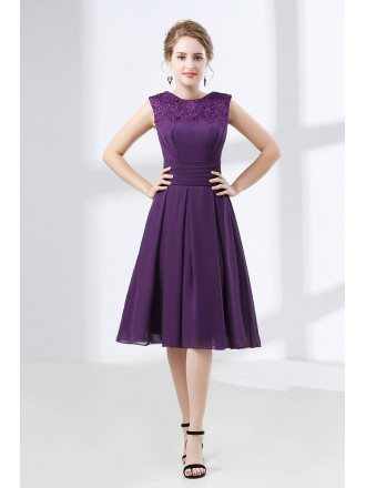 Cheap Purple Knee Length Prom Dress With Modest Lace Neckline