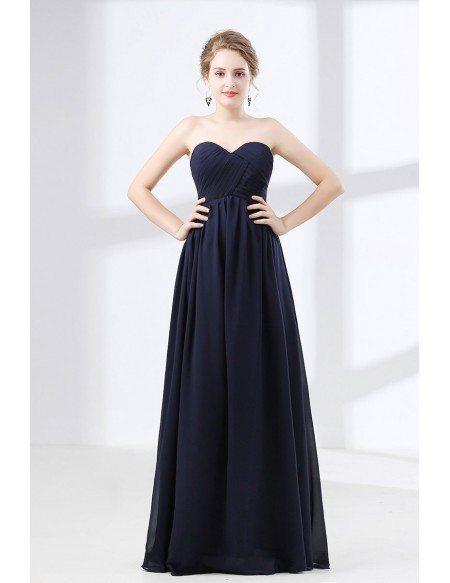 Cheap Simple Navy Blue Prom Dress Flowy Chiffon For Teens
