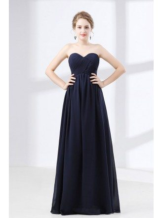 Cheap Simple Navy Blue Prom Dress Flowy Chiffon For Teens
