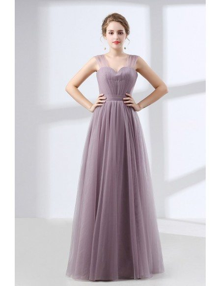 Cheap Tulle Long Homecoming Dress Dusty Lavender Under $100