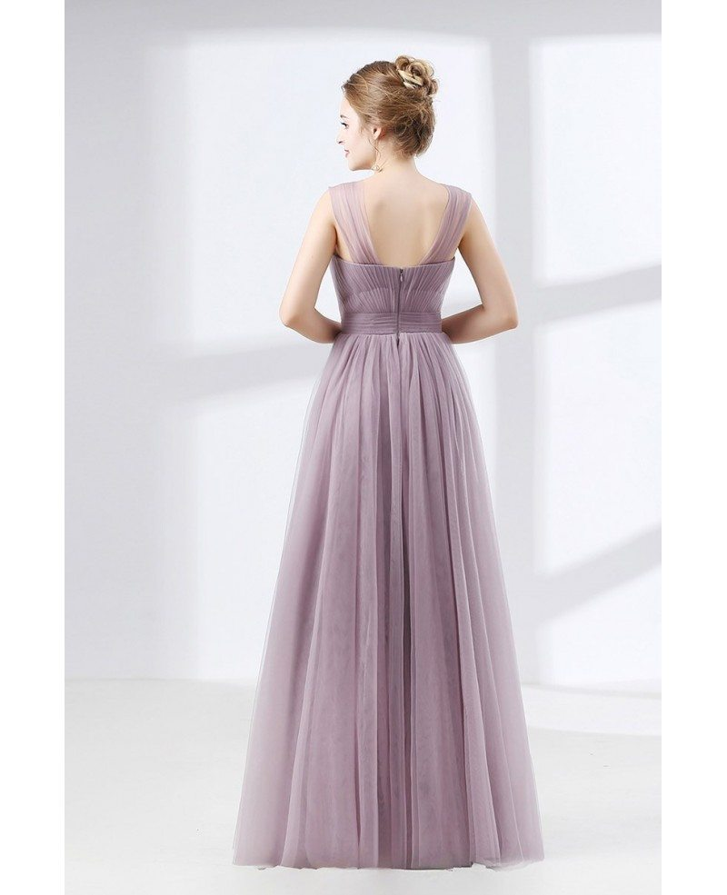 Discount Dresses: Cheap Tulle Long Homecoming Dress Dusty Lavender Under
