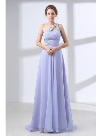 A Line Long Chiffon Prom Dress With Lace Beading One Shoulder