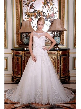 A-Line Scoop Neck Chapel Train Organza Wedding Dress With Appliques Lace