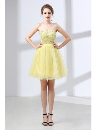Cheap Cocktail Yellow Prom Dress Beaded For Homecoming Girls
