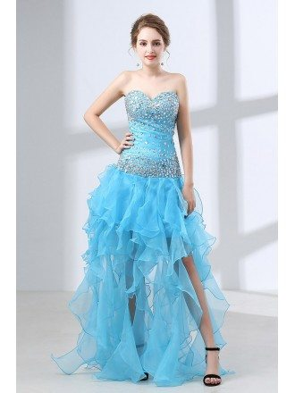 Different Long Slit Pool Prom Dress With Beading Top 2018