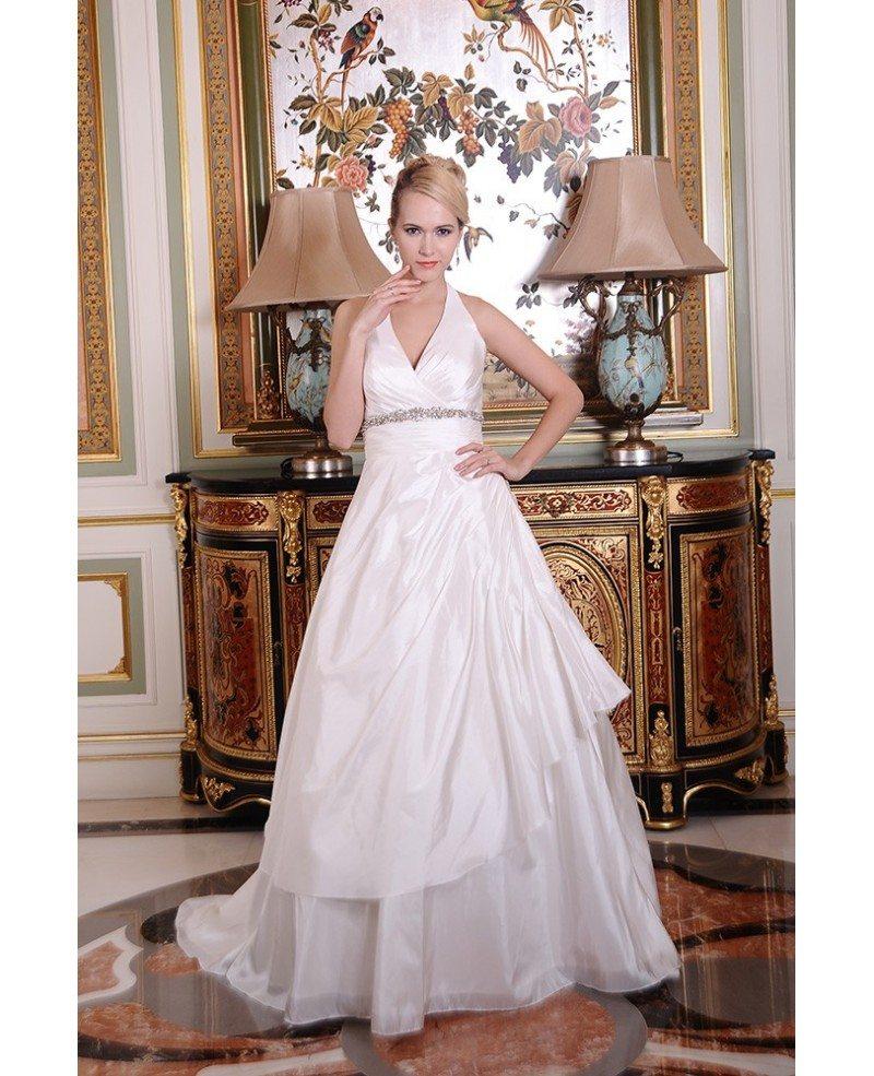 Ruffled Ball Gown Wedding Dress: Ball-Gown Halter Chapel Train Satin Wedding Dress With