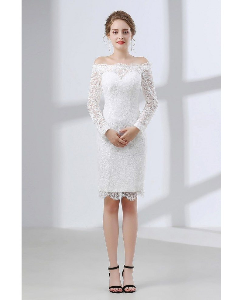 All Lace Wedding Dress: All Lace Cocktail Bridal Dress With Off Shoulder Long