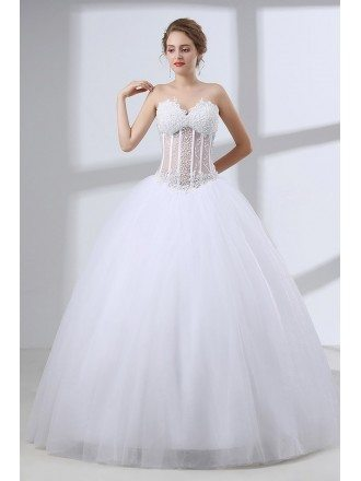 Sweetheart Corset Ball Gown Wedding Dress With Sexy Beading Top