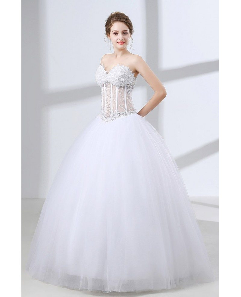 Sweetheart Corset Ball Gown Wedding Dress With Sexy