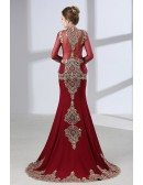 Vintage Lace Trim Burgundy Wedding Dress Sleeved With Cape
