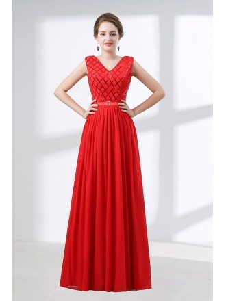 Flowing Chiffon Red Corset Evening Dress Long With Sequin Bodice