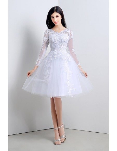 Short A Line Scoop Long Sleeves Knee Length Wedding Dress C20121 125 Gemgracecom