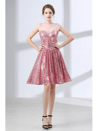 Sparkly Cute Pink Short Homecoming Dress For Senior Girls
