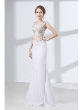 Sexy Sparkly Crystal White Prom Dress Long Fitted With Sheer Top