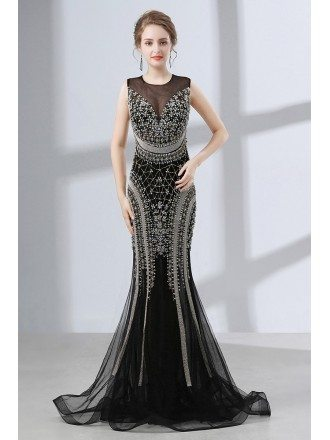 Sexy Black Mermaid Prom Dress Tight With Sparkly Beading