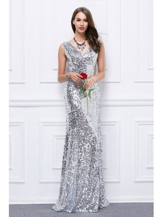 Sexy Mermaid V-neck Sequined Evening Dress