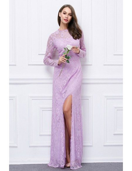 Chic Lace Long Evening Dress With Long Sleeves Split