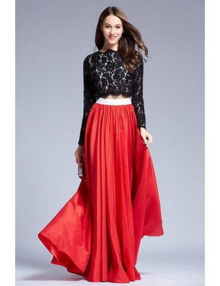 Stylish Two-Pieces Lace Satin Prom Dress With Long Sleeves