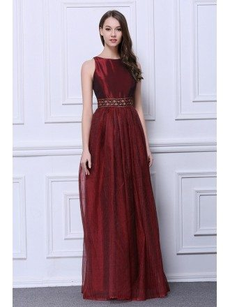 Elegant A-Line Scoop Neck Tulle Long Wedding Guest Dress With Beading