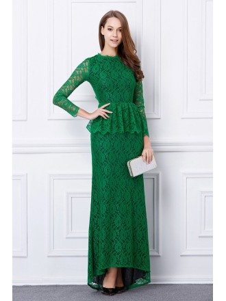Green Elegant Sheath Lace Long Evening Dress With Open Back