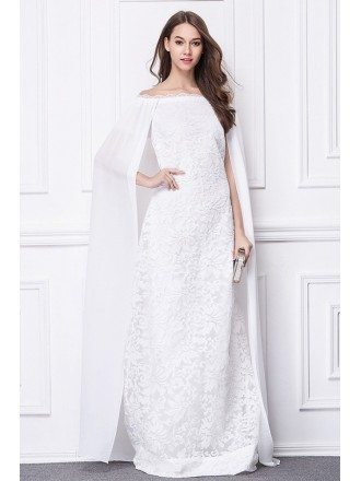 Stylish A-Line Lace Long Evening Dress With Cape