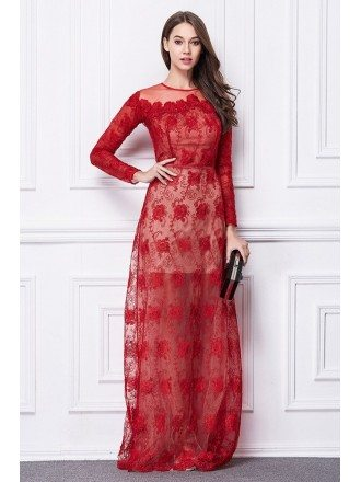 Elegant A-Line Red Lace Floor-Length Evening Dress With Long Sleeves