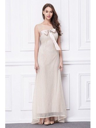 Feminine A-Line Tulle Sweep Train Evening Dress With Bow