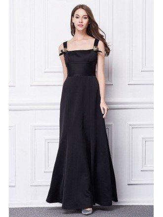 Modest A-Line Square Neckling Black Cotton Long Evening Dress