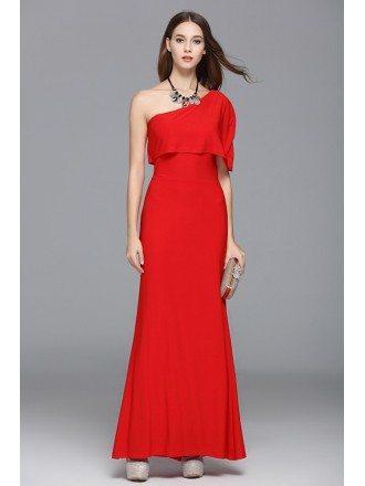 Red A-line One-shoulder Floor-length Evening Dress