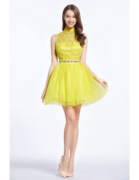 Chic High Neck Tulle Lace Short Prom Dress With Beading